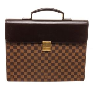 Louis Vuitton Damier Ebene Leather Briefcase Bag
